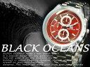 BLACK OCEANS-シルバーメタルバンド メンズウォッチ 腕時計☆BO-1002