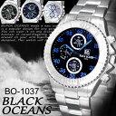 BLACK OCEANS- 腕時計 シルバーメタル デザインクロノグラフ ◇BO-1037H