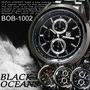 BLACK OCEANS- ブラックメタルバンド メンズウォッチ 腕時計☆BOB-1002