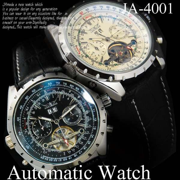 革ベルト 自動巻 DAY&DATE ビッグフェイス&インナーベゼル 腕時計☆JA-14001
