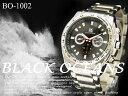 ケース付き☆-BLACK OCEANS- シルバーメタルバンド メンズウォッチ  腕時計