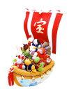 【送料無料】『特大 鈴なり宝船十二支』手作ちりめん細工 迎春・お正月飾り・置物和雑貨 なごみ かわいい リュウコドウ
