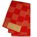 西陣 京都 日本製 刺し子 市松 チェック 本袋 浴衣帯 小袋帯 朱赤系×ベージュ 半幅帯