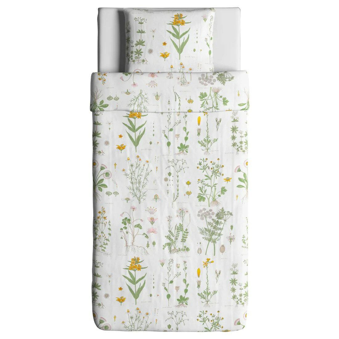 【IKEA Original】STRANDKRYPA 掛け布団カバー&枕カバー シングルサイズ用 フローラルパターン/ホワイト 150x200/50x60cm