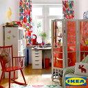 カーテン【IKEA】【100サイズ以上】フレードリカ frederika 綿100 北欧 おしゃれカーテン 子供部屋 キッズ お花 カラフル ピッタリサイズ 赤 おしゃれ 日本製 洗える リビング 寝室