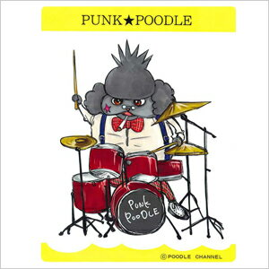 In the original PUNK ★ POODLE sticker (drums)