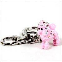 Poodle rhinestone key ring