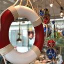 ショッピングうきわ スイムリングMサイズ浮き輪型オブジェホワイトレッド