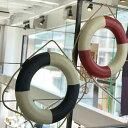 ショッピングうきわ スイムリングMサイズ浮き輪型オブジェ麻ひも付きホワイト&ブルー