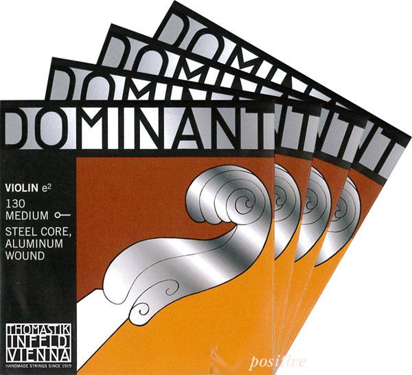 【Dominant】ドミナントバイオリン弦 セット(1E=アルミ巻・130/3D=アルミ巻…...:positive:10000154