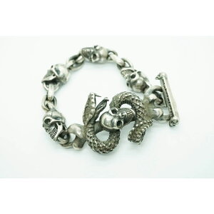 GABORATORY GABOR ガボール ガボラトリー Skull On Snake With 4Skulls & Chain Links Bracelet [B-90] silver 正規取扱 メンズ ブレスレット スカル ブル シルバー 925