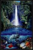 クリスチャン ラッセン(Christian Riese Lassen) 「kahana falls」 ポスター フレームセット【】(101103)