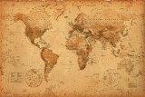 アンティーク スタイル 世界地図 WORLD MAP antique style ポスター(110105)¥3800(税抜き)以上お買い上げで