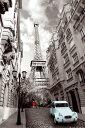【送料¥290〜】 エッフェル塔 シトロエン・2CV ポスター Paris Red Girl Blue Car (140620)