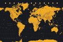 【送料¥290〜】 世界地図  ポスター (ゴールド) World Map Gold World Map(161007)