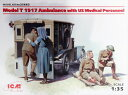 ICM 1/35 T型フォード 1917 救急車 w/アメリカ衛生兵 スケールプラモデル 35662