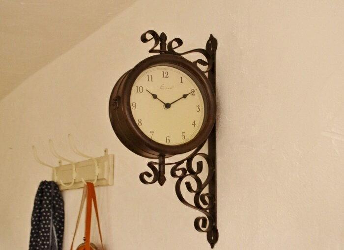 【両面時計|エターナルボースサイドクロックM】両面時計 ボースサイドクロック アンティーク調 かわいい ナチュラルインテリア フレンチカントリー 壁掛け時計 アイアン