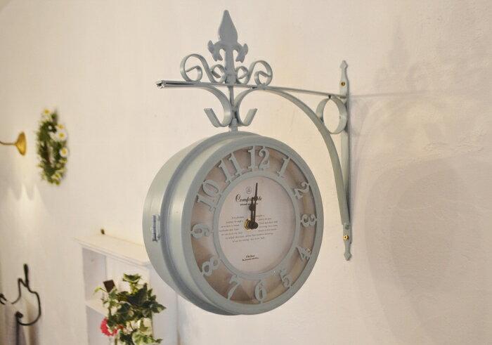 【両面時計 オールドストリートボースサイドクロックブルー】両面時計 ボースサイドクロック アンティーク調 かわいい ナチュラルインテリア フレンチカントリー 壁掛け時計 アイアン ポタフルール