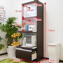 【収納力に自信有!】キッチン収納 食器棚 マイズ60KB(スライス60KB) 幅60cm・すき間収納にも便利 高さ約180CM ブラウンとホワイトツートンカラー...
