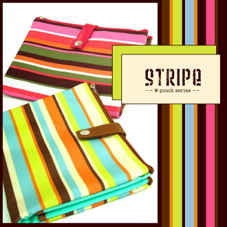 Mother and child Handbook case POUCHE stripe W pouch