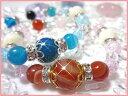天然石パワーストーンブレスレットレッドorブルーアゲートブレスレット色彩豊かなアゲートを使用したおしゃれで可愛いブレスレットです!