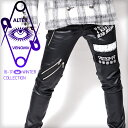 ≪1月上旬頃より発送≫スキニー パンツ メンズ コーティング V系 ファッション スキニーパンツ ロック ROCK パンク ロックファッション パッチ zip ...