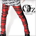 【Oz select】Sideline check pants†チェック スキニー パンツ チェック柄 サイドライン V系 ファッション メンズ ヴィジュアル系 ビジュアル系 ロック ROCK パンク ロックファッション 派手 裾zip 2017 新作 個性的 個性派 レディース Oz オズ