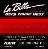 La Bella �ԥ�٥�ա�760N�� BLACK NYLON TAPE WOUND Bass Strings 4���ѥ֥�å��ʥ����