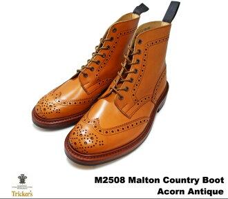 騙子的騙術 M2508 莫爾頓國家口音翼尖的靴子橡子古董小牛皮革 akon 合作古董小牛真皮 Dainite 鑲嵌橡膠鞋底