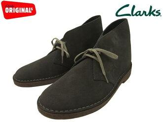 暗灰色絨面革黑灰色麂皮絨、 Clarks 沙漠靴 Clarks 沙漠啟動 20356349