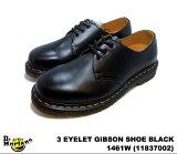ドクターマーチン 3ホール ギブソン レディース シューズ Dr.Martens 1461W 3EYE GIBSON SHOE 11837002 BLACK