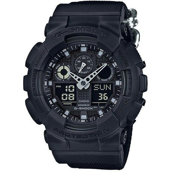 【送料無料】CASIO GA-100BBN-1AJF ブラック G-SHOCK Military Black [腕時計(クオーツ・メンズ)] タフネスを追求し進化を続けるG-SHOCKから、ブラックのワントーンで仕上げ、クロスバンドを採用した「ミリタリーブラック」が登場