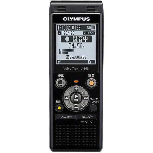 【送料無料】OLYMPUS V-863-BLK ピアノブラック ボイストレック [ICレコーダー(8GBメモリ内蔵+外部マイクロSDスロット搭載)]