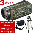 【送料無料】JVC (ビクター) GZ-RX600-G (64GBビデオカメラ) + KA-1100 三脚&バッグ付きセット 防水 防滴 防塵 耐衝撃 耐低温 長時..