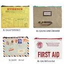アメリカBlueQ社のリサイクルバッグシリーズ 小物の収納に「ジッパーポーチ Airmail」BL-QA209| 輸入 おしゃれ かわいい プレゼント pud253