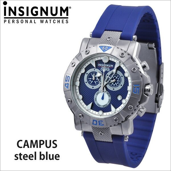 【INSIGNUM】インシグナム ドイツ メンズ腕時計 Campus steel blue ブルー【送料無料】 当店独占販売!ドイツ製腕時計