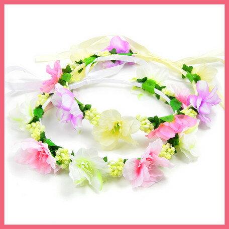 カラフルフラワーの花かんむり(2色)イベント・ダンス・フラワー・花冠・ヘッドドレス・結婚式・ヘアアクセ・ウェディング