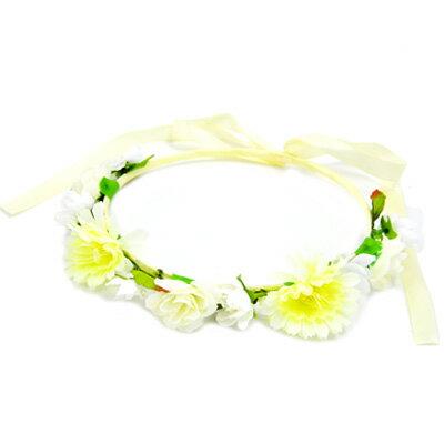 小さな白いお花がかわいい花冠・花かんむり・ダンス・結婚式・発表会・フェス・ヘッドアクセ・お花見・海グッズ