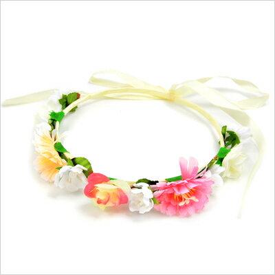 イベントに!ピンクと黄色のお花の花冠・結婚式・入学式・卒業式・発表会・フェス・お花見・ヘッドアクセ・花冠