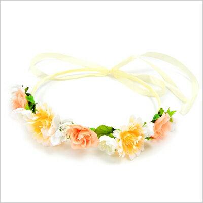 オレンジのお花の花冠・花かんむり・フェス・イベント・ヘッドアクセ・グッズ・結婚式・発表会