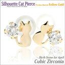 珠寶, 手錶 - K10 イエローゴールド製 キュービックジルコニア シルエットキャット ネコ 猫 ピアス 4月の誕生石 送料無料