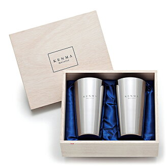 Polishing Meister, two-tiered ステンレスビア tumblers and beer glass/tumbler/mug 320 ml (wooden box, 2 combined)