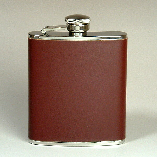Leather hip flask oak (L)