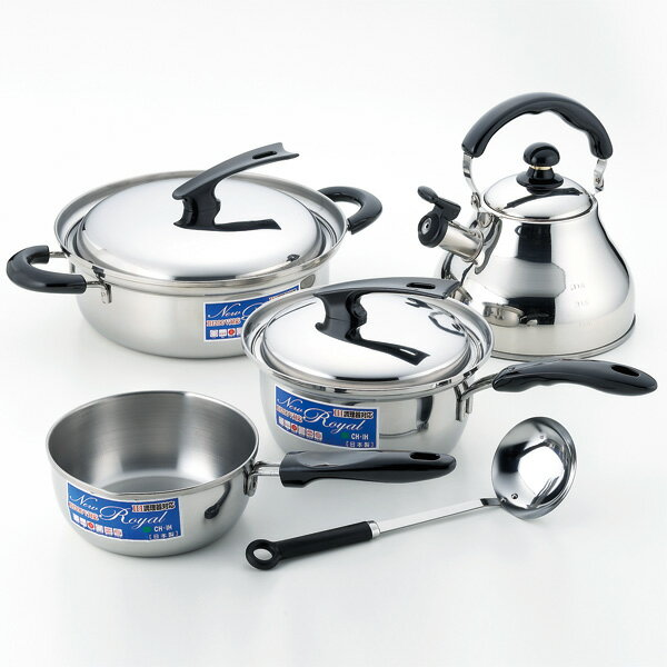 IH-enabled pot and kettle, set of 4 (with ladle) fs3gm