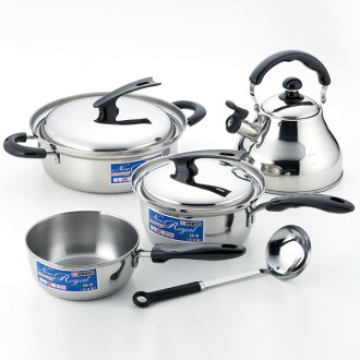 IH-enabled pot and kettle, set of 4 (with ladle)