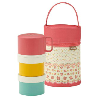 Thermos 3-type insulated lunch box 580 ml coral pink (DJL-580/CP)