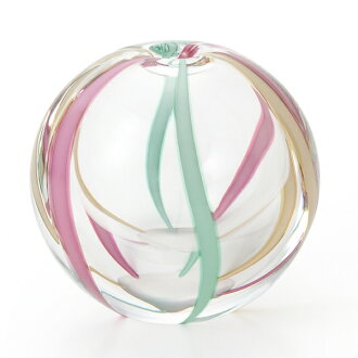 -Made in Japan-round bud vase (water balloons design) March f-71262 vases, Adelia and Ishizuka glass and glass products