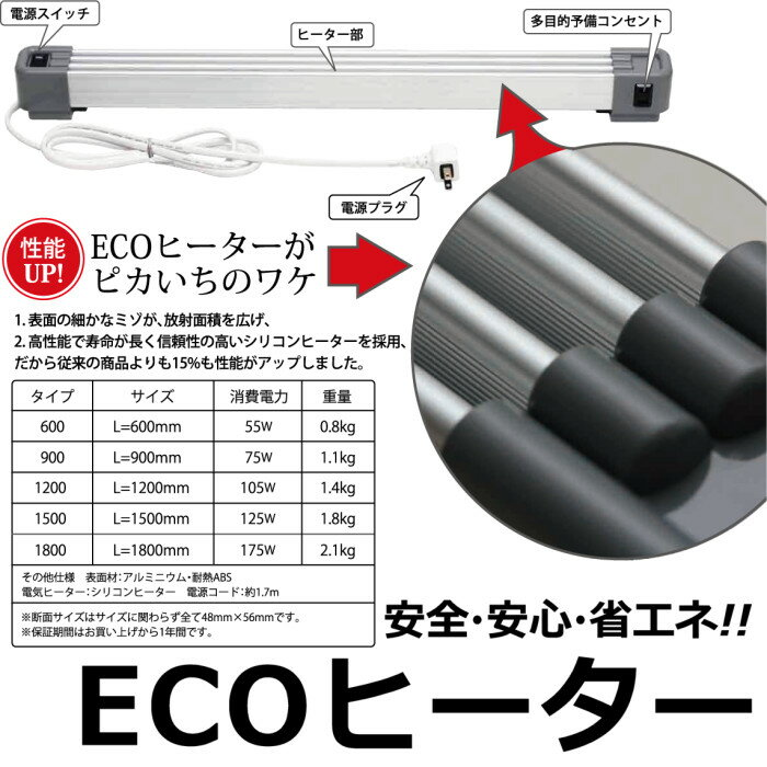 ECOヒーター600(エコヒーター/L=600mm)安心・安全・省エネ! らくらく設置で操作も簡単! 環境にやさしいエコヒーター登場。やさしい暖かさが、冬の生活を快適にします。 【暖房用品】