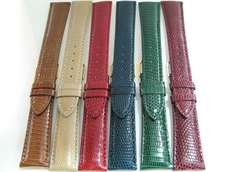 High grade lizard leather watch belt s glossy finish.