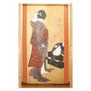 【クーポンあり】市松柄レースのれん 葛飾北斎 鏡面美人図 W850×H1500mm 42352